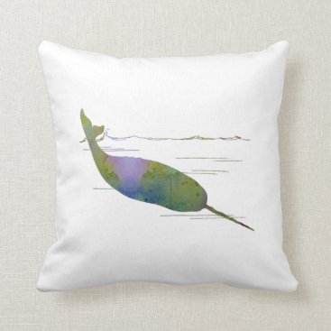 Beach Themed Narwhal Throw Pillow
