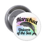 Narwhal Unicorn of the Sea, Cute Rainbow 2 Inch Round Button