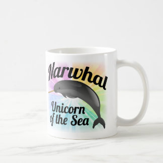 Narwhal Unicorn of the Sea, Cute Rainbow Classic White Coffee Mug