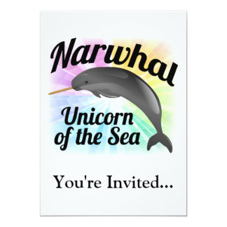 Narwhal Unicorn of the Sea, Cute Rainbow Personalized Invites