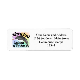 Narwhal Unicorn of the Sea, Cute Rainbow Label