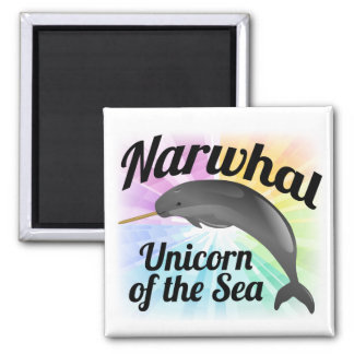 Narwhal Unicorn of the Sea, Cute Rainbow Refrigerator Magnet