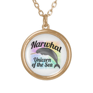 Narwhal Unicorn of the Sea, Cute Rainbow Round Pendant Necklace