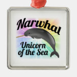 Narwhal Unicorn of the Sea, Cute Rainbow Square Metal Christmas Ornament