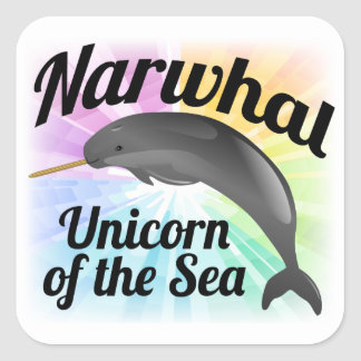 Narwhal Unicorn of the Sea, Cute Rainbow Square Stickers