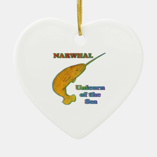 Narwhal - Unicorn of the Sea Double-Sided Heart Ceramic Christmas Ornament