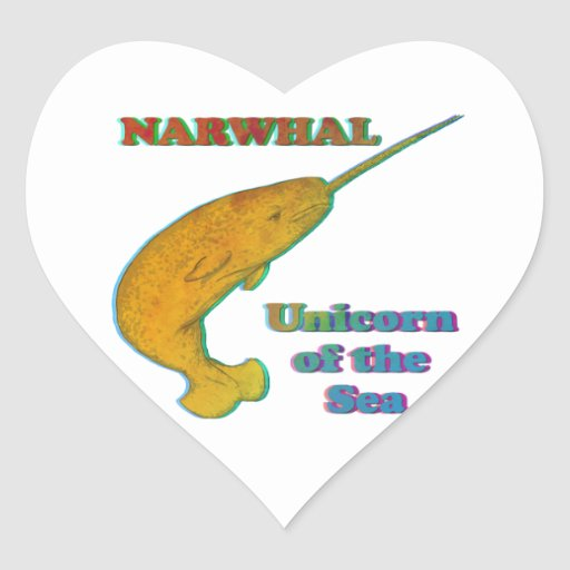 Narwhal - Unicorn of the Sea Heart Stickers