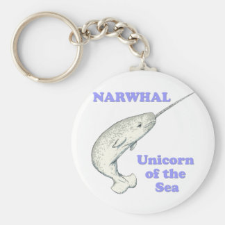 Narwhal unicorn of the sea basic round button keychain