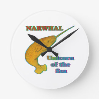 Narwhal - Unicorn of the Sea Round Clock