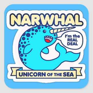 Narwhal Unicorn Of The Sea Square Sticker