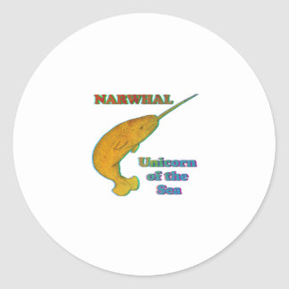 Narwhal - unicornio del mar pegatina redonda
