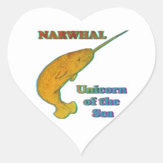 Narwhal - unicornio del mar calcomanía de corazón personalizadas