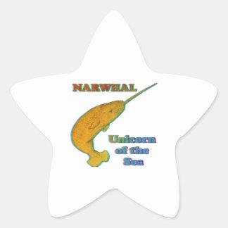 Narwhal - unicornio del mar pegatinas forma de estrellaes