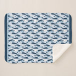 Narwhal Waves Allover Print Blue Sherpa Blanket