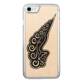 Narwhal Waves Celtic Style Black Ink Drawing Carved iPhone 8/7 Case