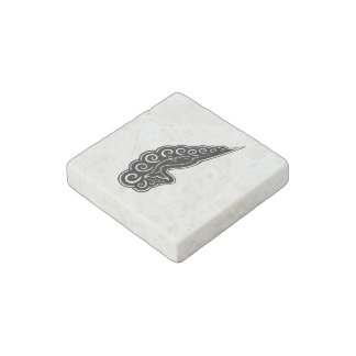 Narwhal Waves Celtic Style Black Ink Drawing Stone Magnet