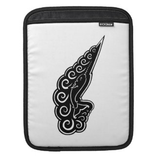 Narwhal Waves Celtic Style Black Ink Drawing Sleeve For iPads