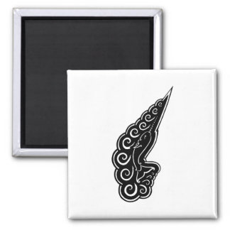 Narwhal Waves Celtic Style Black Ink Drawing Magnets