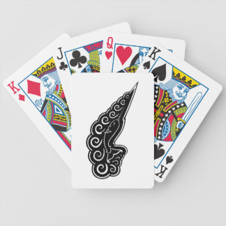 Narwhal Waves Celtic Style Black Ink Drawing Bicycle Playing Cards