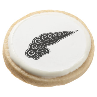 Narwhal Waves Celtic Style Black Ink Drawing Round Shortbread Cookie