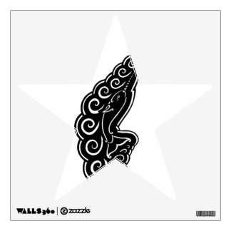 Narwhal Waves Celtic Style Black Ink Drawing Wall Decal