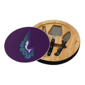 Narwhal Waves Celtic Style Colorful Ink Drawing Cheese Board