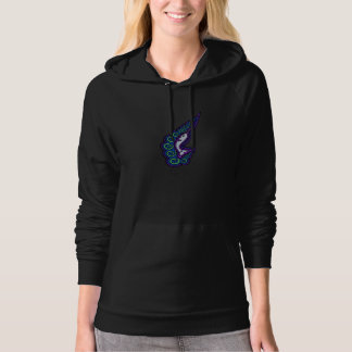 Narwhal Waves Celtic Style Colorful Ink Drawing Hoodie