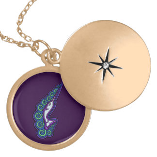 Narwhal Waves Celtic Style Colorful Ink Drawing Locket Necklace