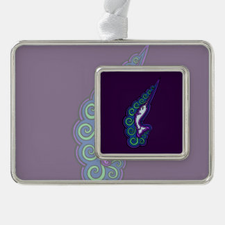 Narwhal Waves Celtic Style Colorful Ink Drawing Ornament