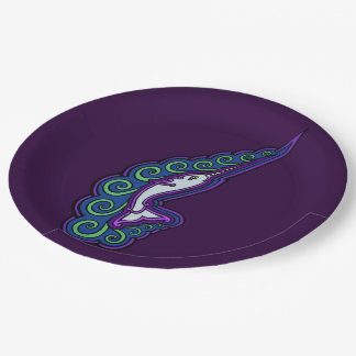 Narwhal Waves Celtic Style Colorful Ink Drawing Paper Plate