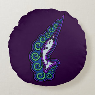 Narwhal Waves Celtic Style Colorful Ink Drawing Round Pillow
