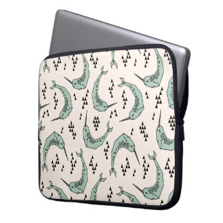 Narwhal - Whale Champagne Blue / Andrea Lauren Laptop Sleeve