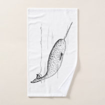 Narwhal Whale Hand Towel