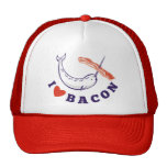 narwhal whale i love bacon trucker hat