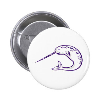 narwhal whale pinback button