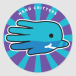 Hand shaped Narwhal Whale Tooth Classic Round Sticker