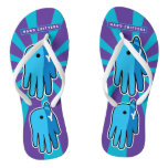 Hand shaped Narwhal Whale Tooth Flip Flops