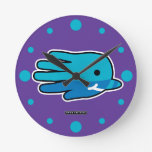 Hand shaped Narwhal Whale Tooth Round Clock