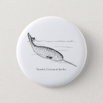 Narwhal Whale Unicorn of the Sea Pinback Button