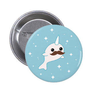 Narwhal with Mustache Pinback Button