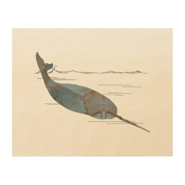 Beach Themed Narwhal Wood Print
