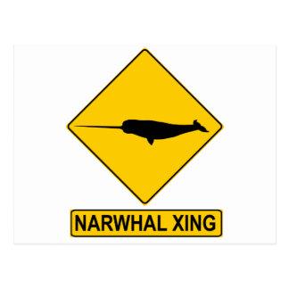 Narwhal X-ing Sign Postcard
