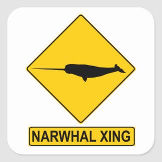Narwhal X-ing Sign Square Sticker
