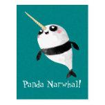 Narwhal y panda en uno postales