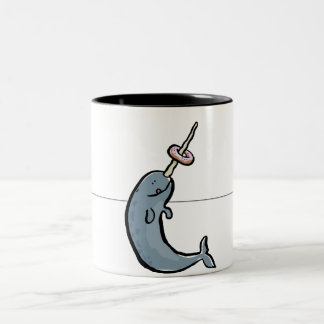 narwhale and donut Two-Tone coffee mug