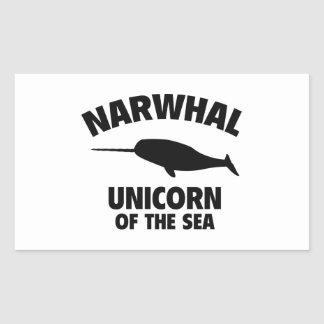 Narwhale Unicorn Of The Sea Rectangular Sticker