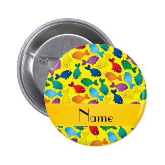 Narwhals amarillos conocidos personalizados del pin redondo de 2 pulgadas
