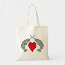 Narwhals and Heart Tote Bag