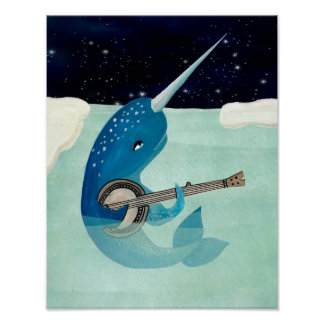 Narwhal's Aquarelle - Narwhal playing Banjo Poster