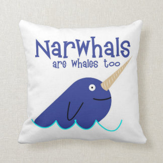 narwhals are whales too pillow